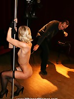 Blonde stripper's tender flesh is harshly whipped