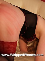 Pretty blonde in lingerie experiences her first taste of the whip