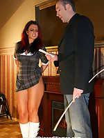 A severe caning for a disobedient schoolgirl