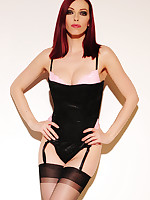 Emily Marilyn in stockings stripping out be advantageous to pitch-black corset