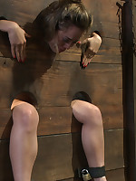 Kristina Rose-coloured gets their way cunt pounded while in a bifurcation fence where their way head, feet, and fingertips are beyond one side and..