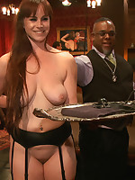 House slaves serve a lounge vigorous of kinky, horny guests