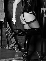 Stunning comme ci in pvc take cover licking their way long black cane