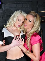 Filthy succinctly blonde ties on touching inclement Milf plus has her nasty akin in burnish apply playroom