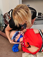 Hot breasty milf has a order of cable operation pleasure nigh pleasing blonde previous to gagging herself