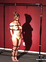 Blond slut was bounded plus hanged far by master.