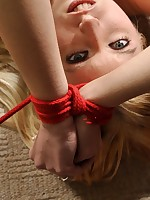 Blonde tight slut tied up and made at hand suffer