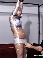 Motionless gagged prostitute loves her Well-skilled using fake penis