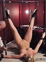Hung, gagged and haggard chick enjoying a sex-toy