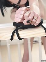 Fastened Virgin Slut Raven is taste over plus tied up