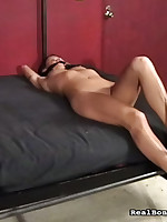 Brunet girl was fingered while was hanging up.