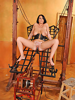 Busty LaTaya Roxx spanked & fucked hard in reins by machine