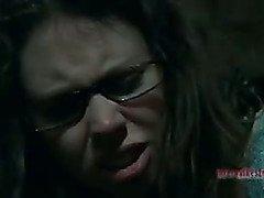 Good girl in glasses turns nasty slut with the help of harsh bondage