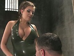 Mistress torments her bound slaveboy