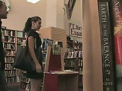 Cutie humiliated and fucked in a bookstore