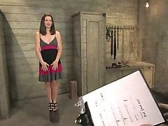 Slavegirl is bound and flogged for her intake interview
