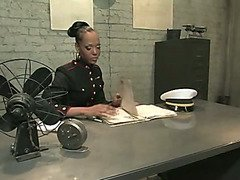 Black tranny girl administers military discipline and oral training