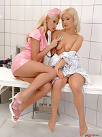 Sexy latex nurse inspects & licks patient's pussy & ass!