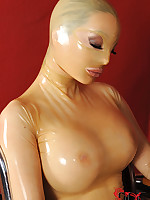Latex babe enjoys the charge from gadget and one heavy cocks