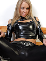 Rosanna in latex rough tied