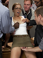 Nerdy grad student bound airtight by teachers and gangbanged.