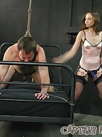 Male sub must maintain erection through clothespins, smothering, spanking