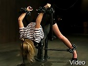 Hot little blond Tati Russo metal bound ass up, gagged punished and made to cum.
