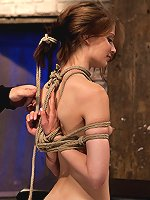 Senisi suffers a brutal reverse prayer Category 5 Hogtied. Extreme back arch with hair