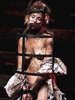 Whore roped, ball-gagged and clamped