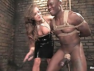 Sadistic goddess flogs, ass fucks, and drains her slave..