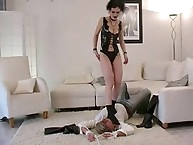Goddess  sucks trampled on slave shirt