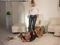 Ewa trampling on men with open feet