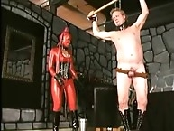 Red body wipping his slave-Very painful