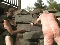Mistress jean beating his villein wound ass