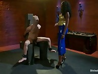 Goddess Nyomi punishes and wrestles down slaveboy