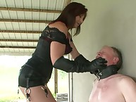 Mistress slapping her slave