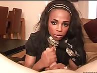Ebony sweetheart gets dick rock hard