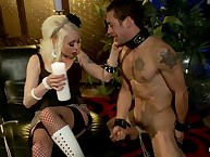 Dominatrix teases and denies slaveboy