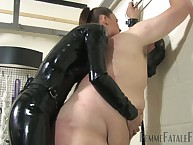 Big bottom yon gasmask got bullwhipped down the addition of fucked down strapon