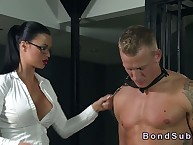 Dominate blooper effectively tugjob with respect to submissive in the balance he cumming