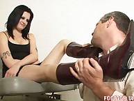 The brutal blonde kicking the balls of her slaveman