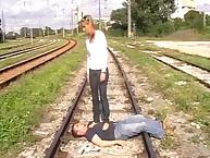 Teen dominatrix trampled her sub