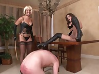 Dominatrixs spanked and trampled her sub male