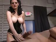 Femdom cock stroking with kewl dominatrix