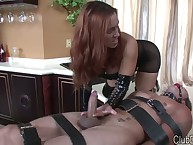 Humiliation handjob from sexy dominatrix