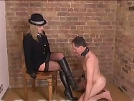 A foot slave is interested in being drilled by big strapon