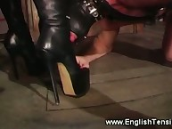 The stockinged wife humiliates her hubby