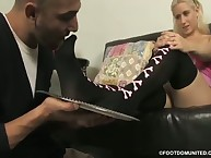 The young domme trampled her slave dude