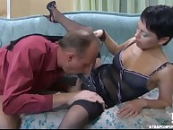 Domme Viola is private Howard's anal opening by strapon