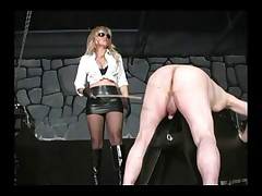Sadistic goddess beat man's ass with stick